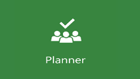 Planner icon - an image of a group of people with a tick  - white on a green background