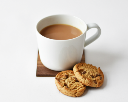 Photo of mug of tea and biscuits