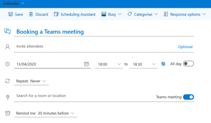 Image shows you can add Teams to the calendar location field
