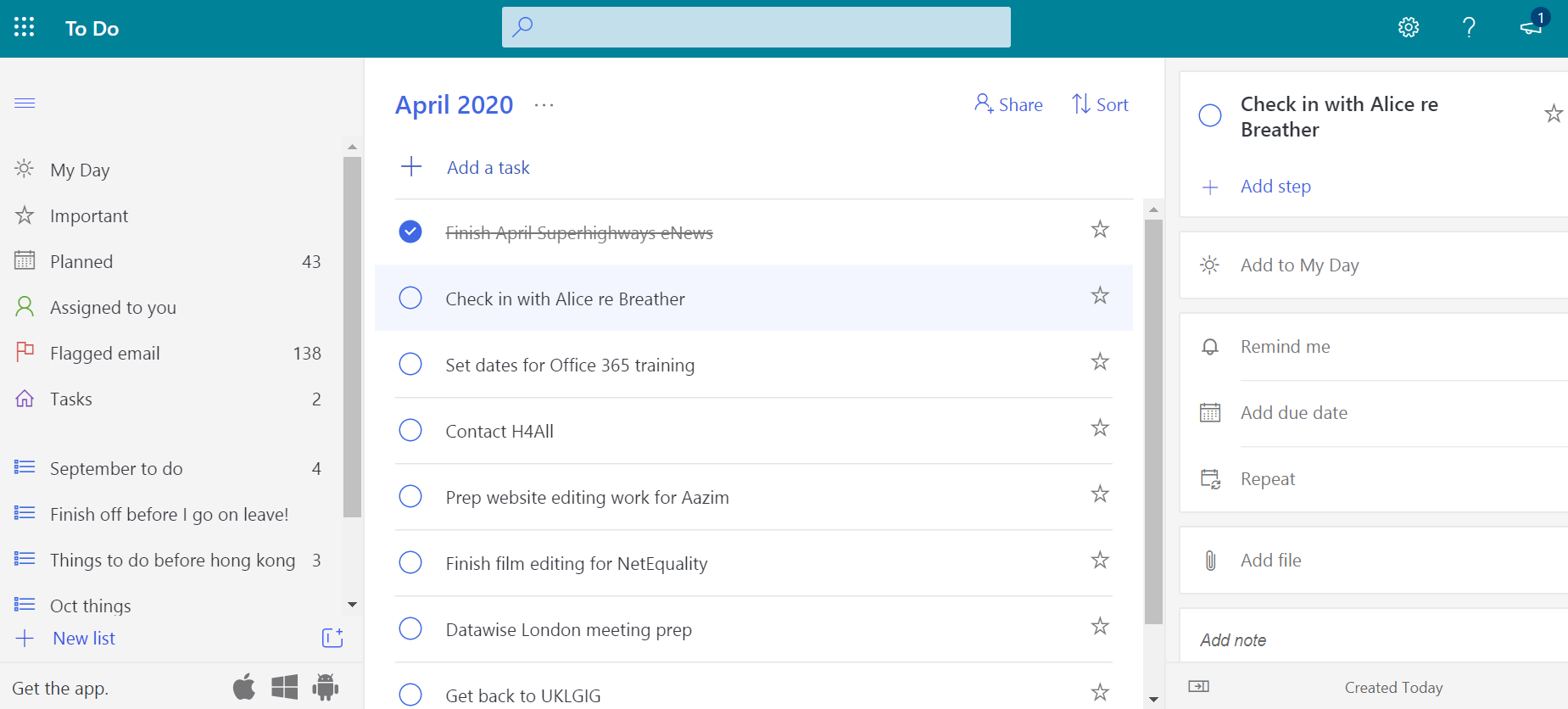 Screenshot of the To Do app listing tasks